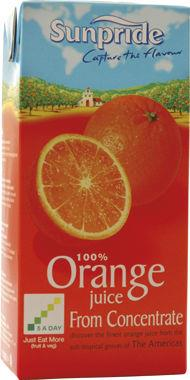 Sunpride Orange Juice , tetra 1 lt x 12