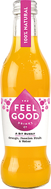 Feel Good Orange & Passion Fruit Sparkling Juice Drink, NRB 275 ml x 24