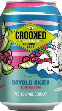 Crooked Alcoholic Soda - Dayglo Skies - Raspberry & Lime 330 ml x 12