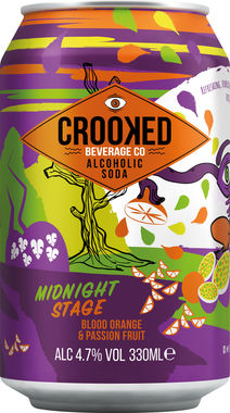 Crooked Alcoholic Soda - Midnight Stage - Blood Orange & Passionfruit 330 ml x 12