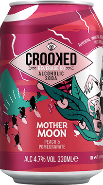 Crooked Alcoholic Soda - Mother Moon - Peach and Pomegranate 330 ml x 12