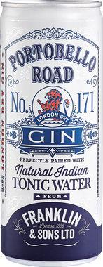 Portobello Rd & Franklin Natural Indian Tonic, Can 250 ml x 12
